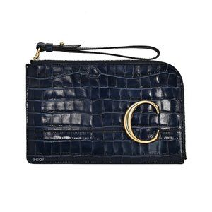 Chloe C Croco  Leather Flat Pouch